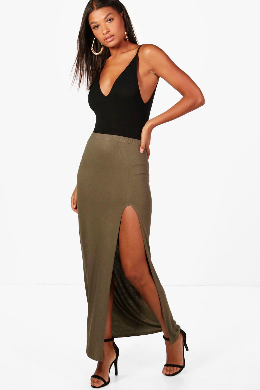 Thigh Split Maxi Skirt  khaki