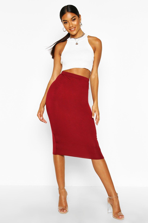 Basic Jersey Midi Skirt berry
