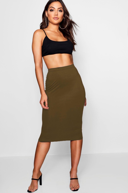 Basic Jersey Midi Skirt olive