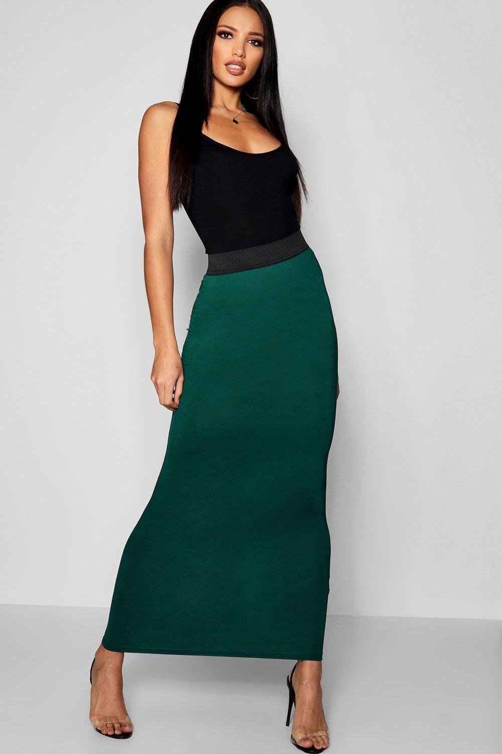 Boohoo Basic Jersey Maxi Rok Met Contrasterende Taille, Fles