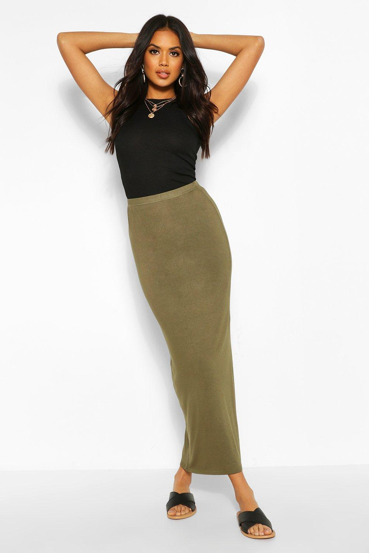 Contrast Waist Maxi Skirt  khaki