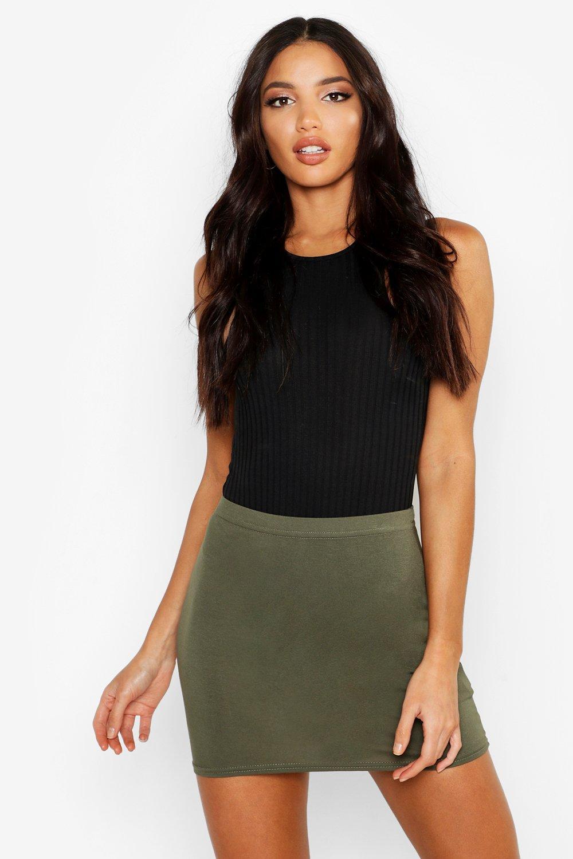 Womens Schlichter Minirock aus Jersey - khaki - 38, Khaki - Boohoo.com