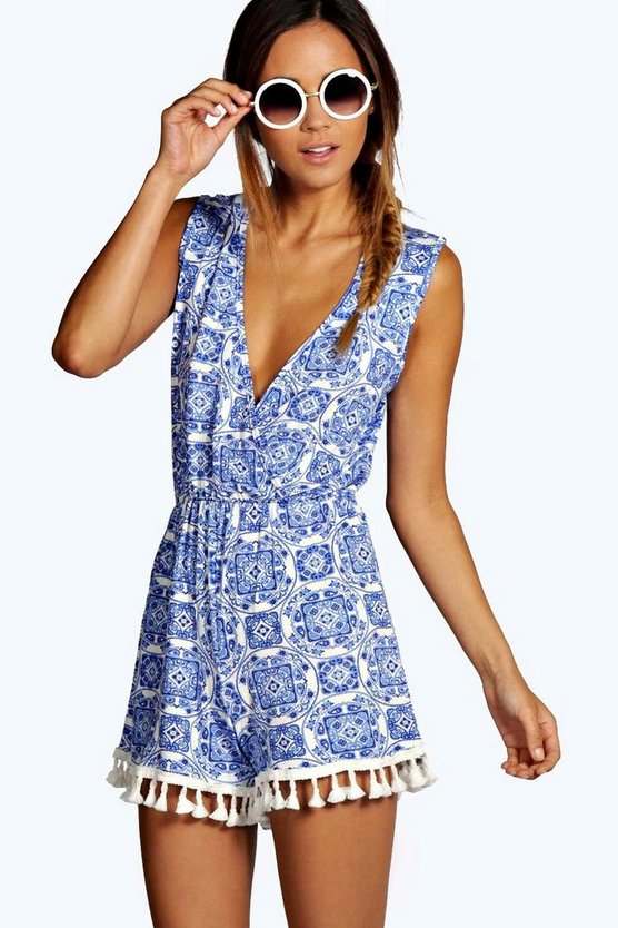 Emma Blue Print Wrap Over Tassel Trim Playsuit