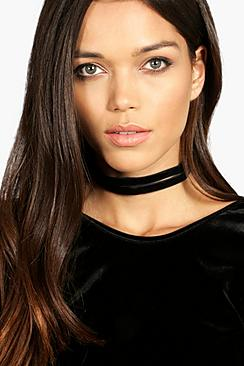 Kim Double Velvet Look Choker