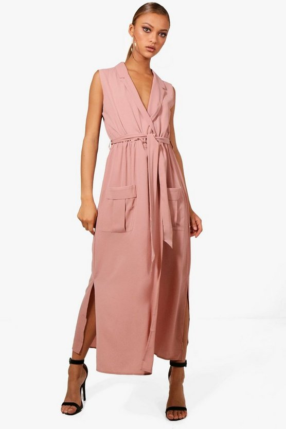Paige Sleeveless Belted Midi Shirt Dress