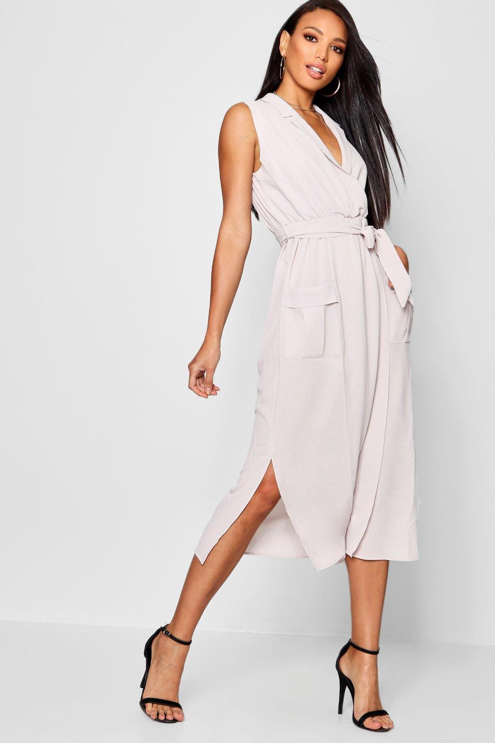Sleeveless Belted Midi Shirt Dress  grey