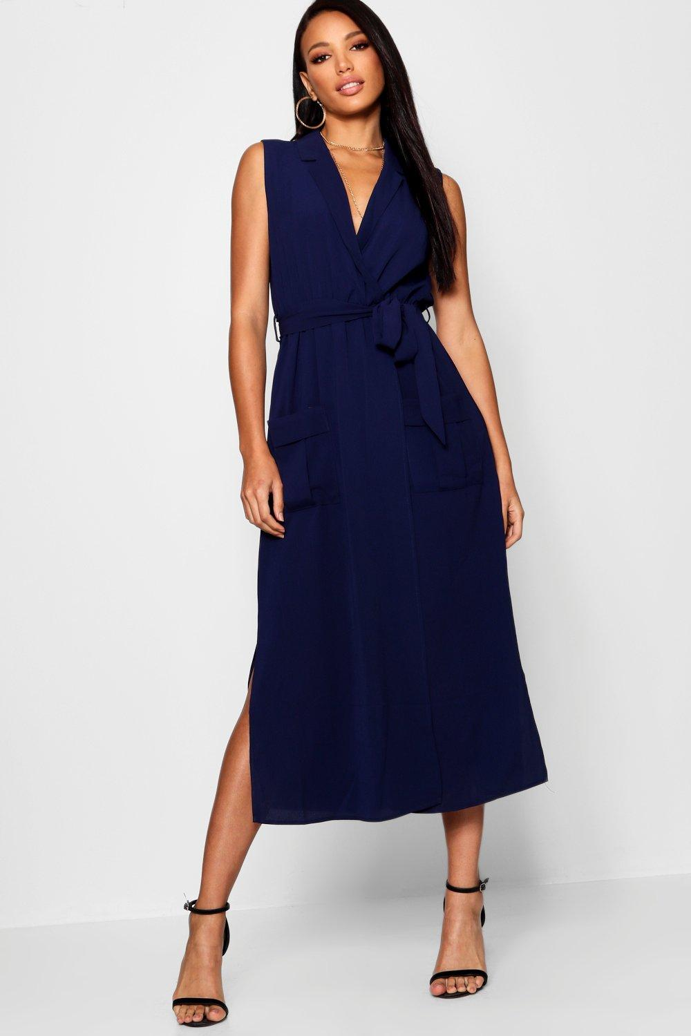 Sleeveless Belted Midi Shirt Dress  navy