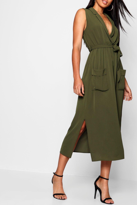 Boohoo Womens Paige Sleeveless Belted Midi Shirt Dress