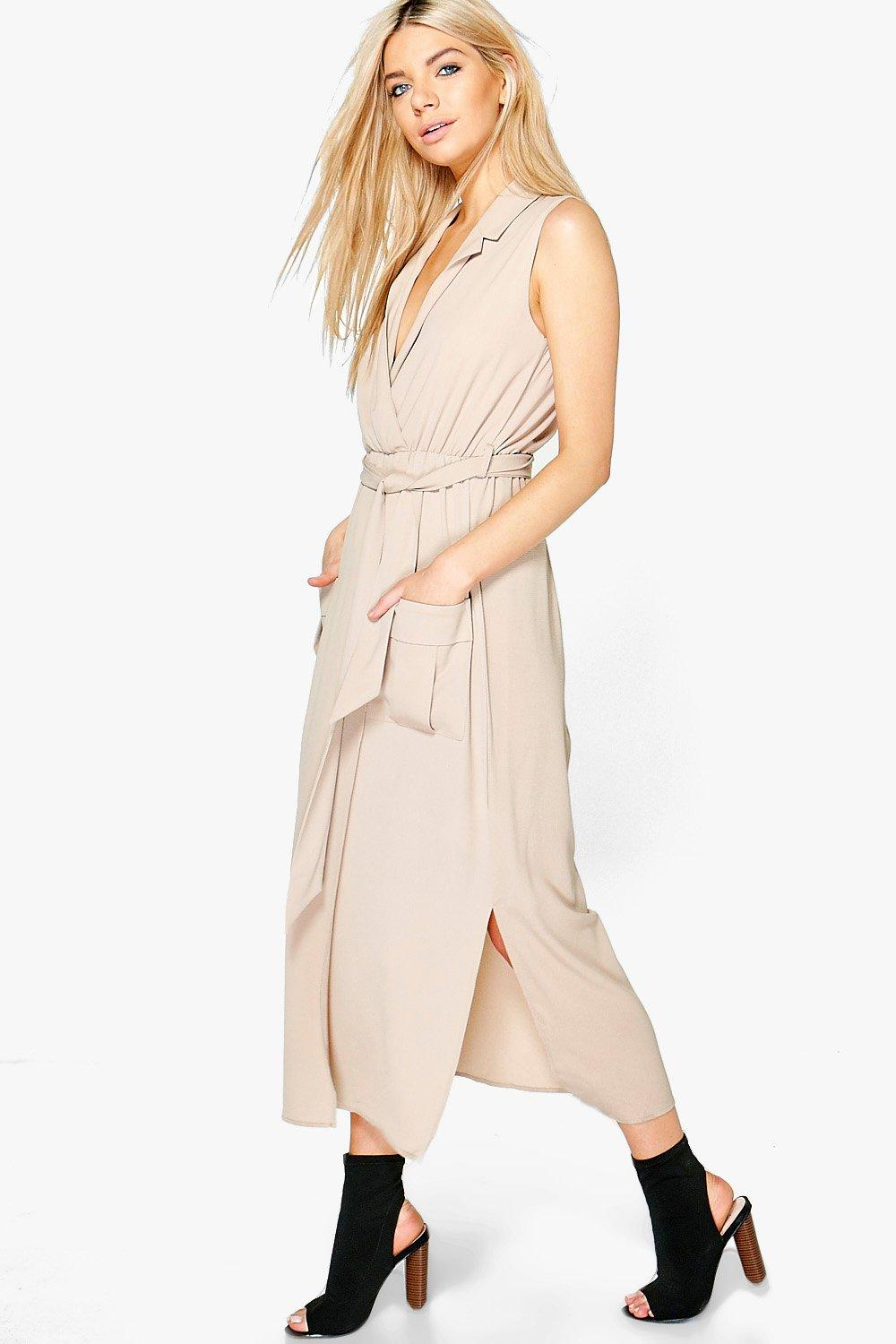 Sleeveless Belted Midi Shirt Dress  sand
