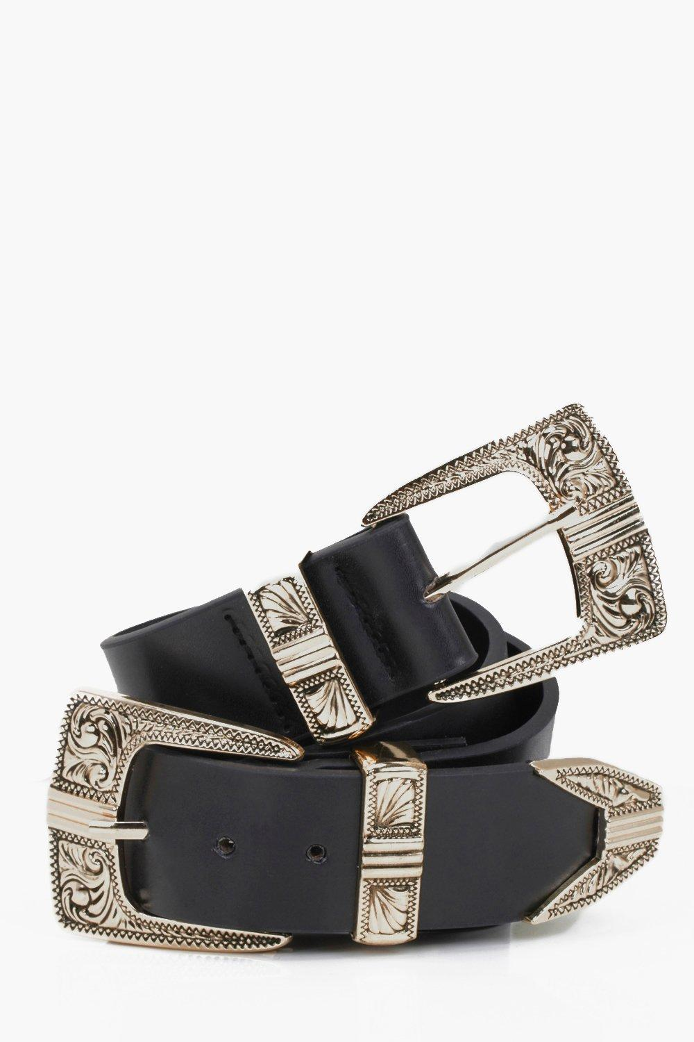 Double Buckle Western Belt - black - Customise you
