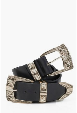 Grace Double Buckle Western Belt
