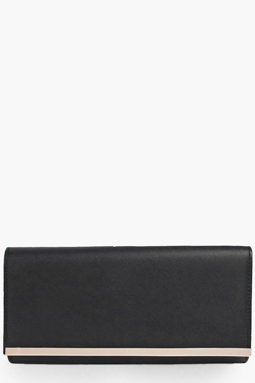 Pu Metal Bar Cutch Bag - black - Bags are a girl?s