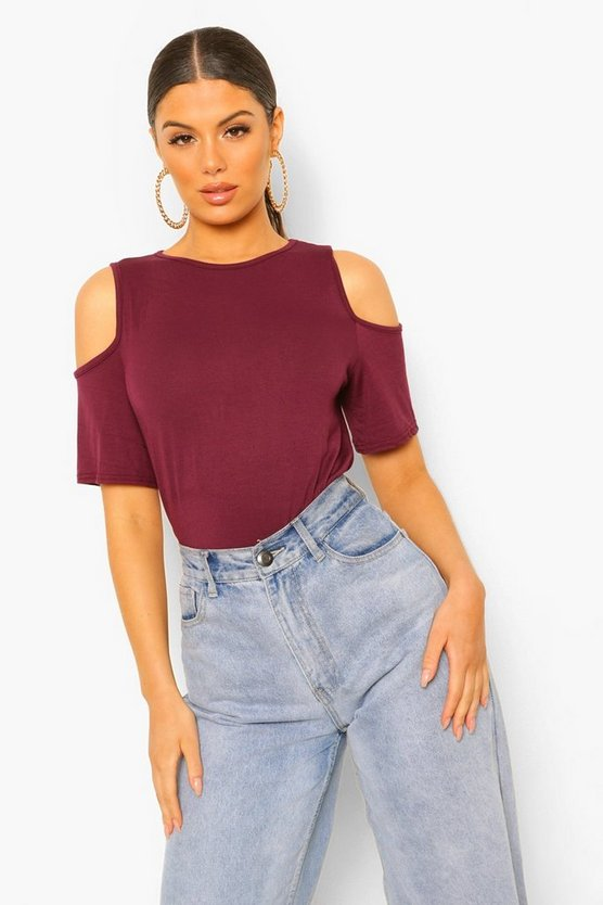 Basic Cold Shoulder Curved Hem T-Shirt