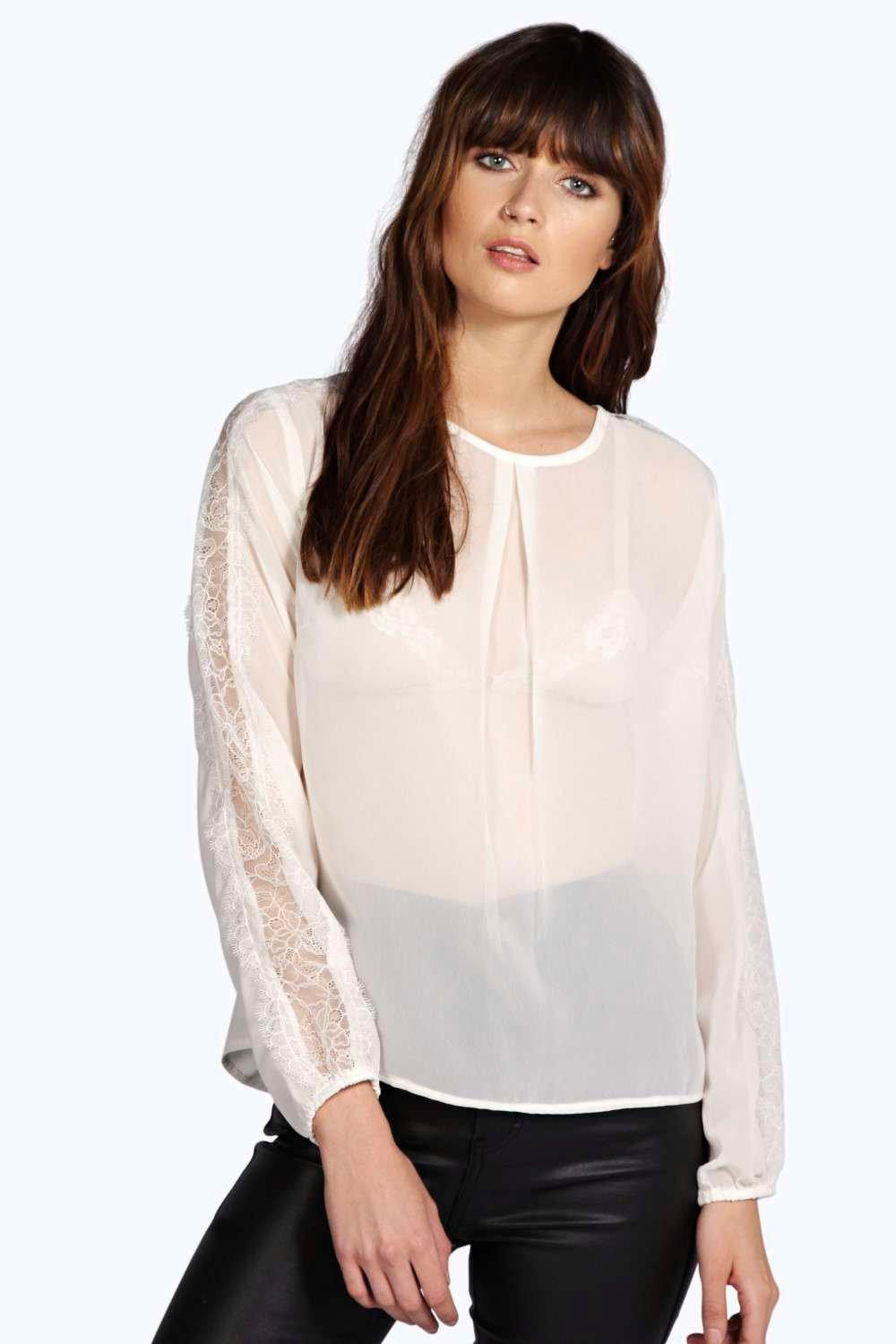 Faith Lace Sleeve Low Back Woven Top