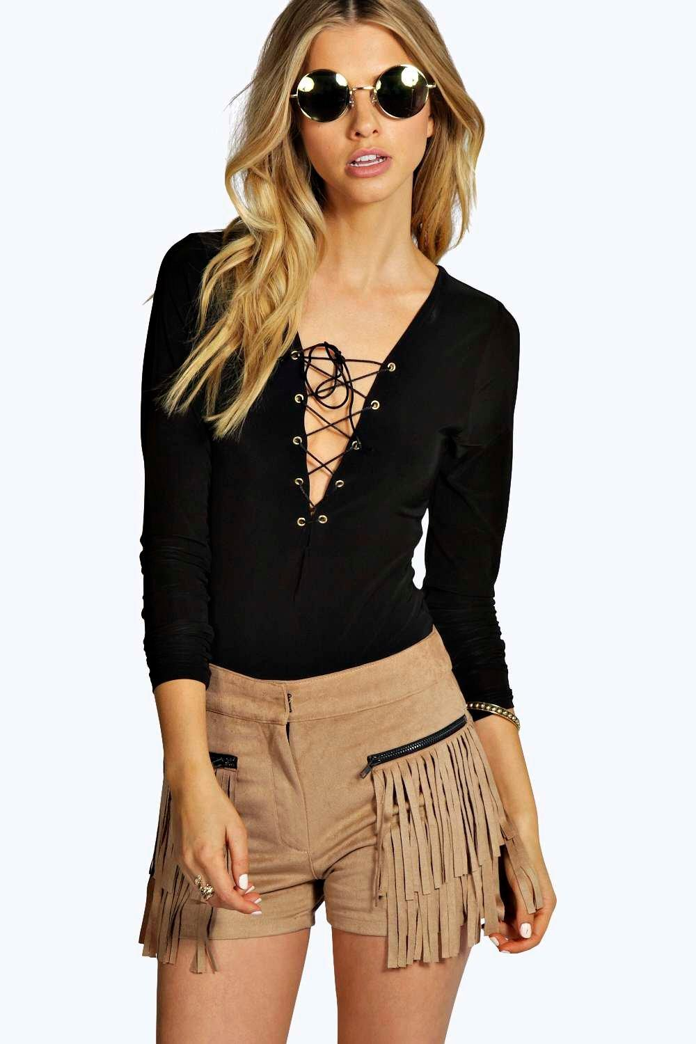 Rosie Eyelet Lace Up Long Sleeve Body