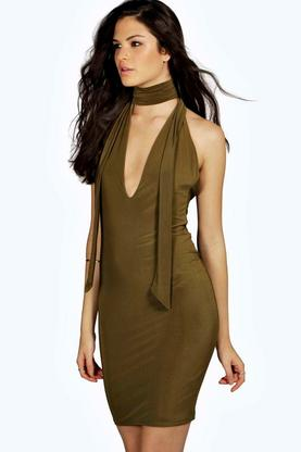 Beth Tie Neck Plunge Midi Bodycon Dress