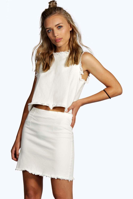 boohoo womens edge denim mini skirt in white