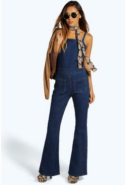 Boutique Ella Flared Leg Denim Jumpsuit