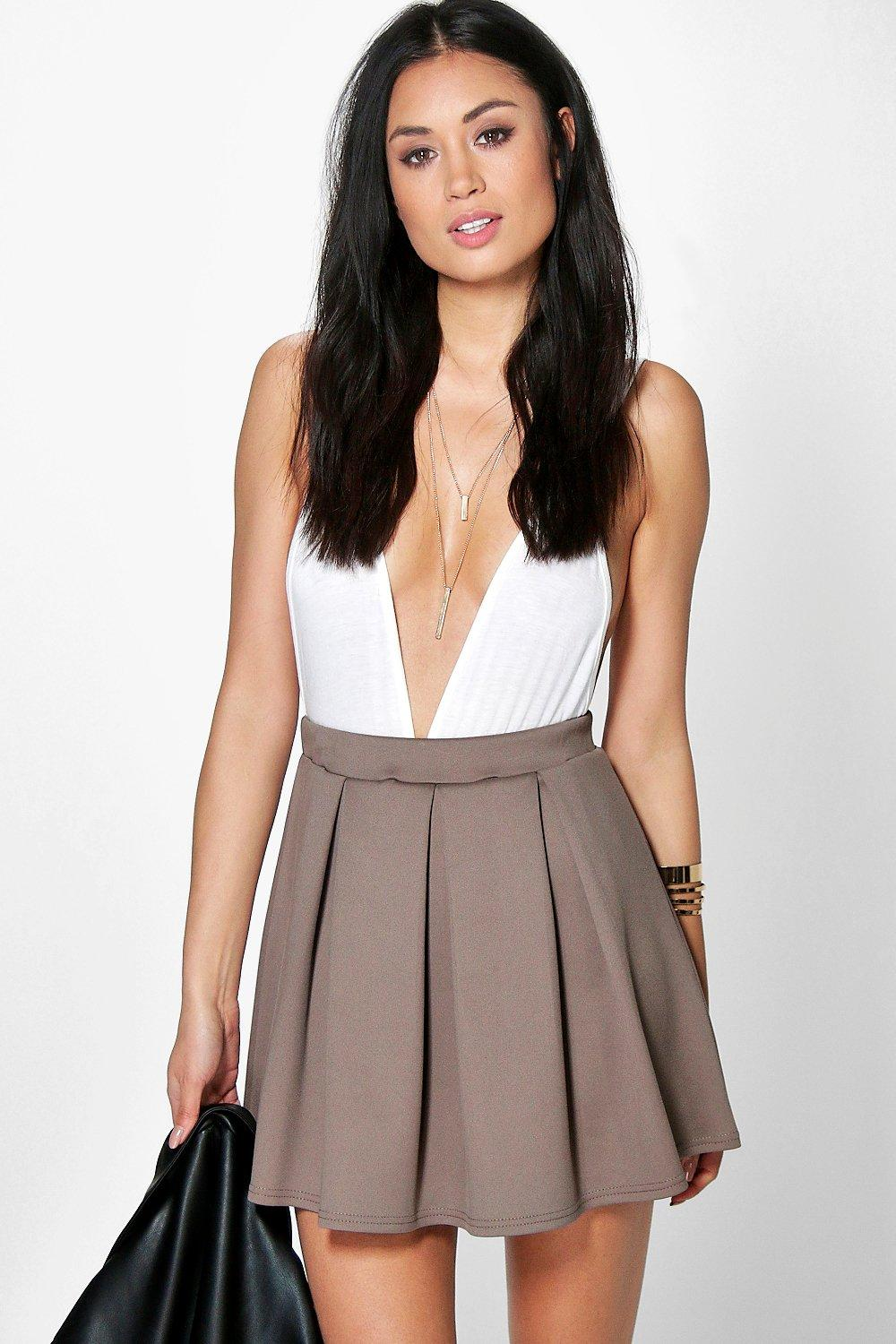 Sophie Solid Colour Box Pleat Skater Skirt