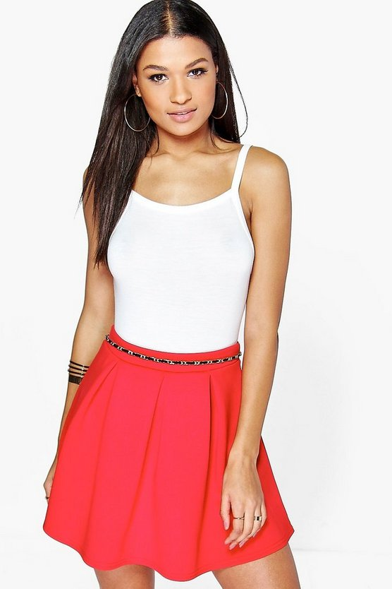 Sophie Basic Scuba Box Pleat Skater Skirt