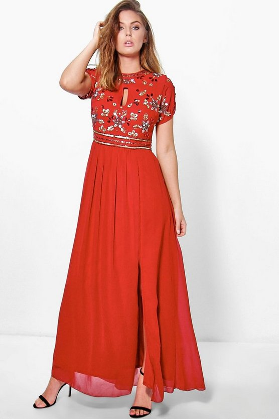 Callie Boutique Embellished Chiffon Maxi Dress