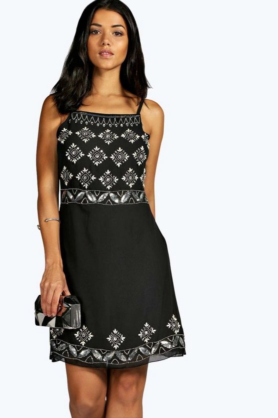 Celia Boutique Strappy Embellished Shift Dress