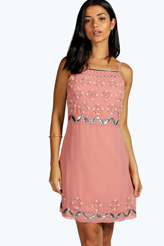 Boutique Strappy Embellished Shift Dress  blush