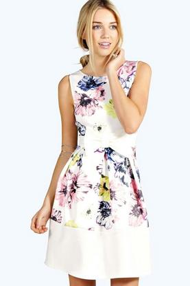 Leah Floral Print Low Front Skater Dress