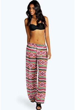 Rio Large Aztec Chiffon Beach Trousers
