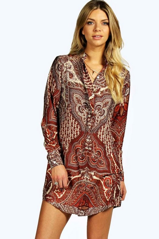 Paloma 70's Paisley Print Shirt Dress