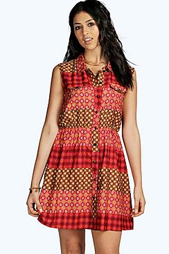 Sia Sleeveless Utility Pocket Skater Dress