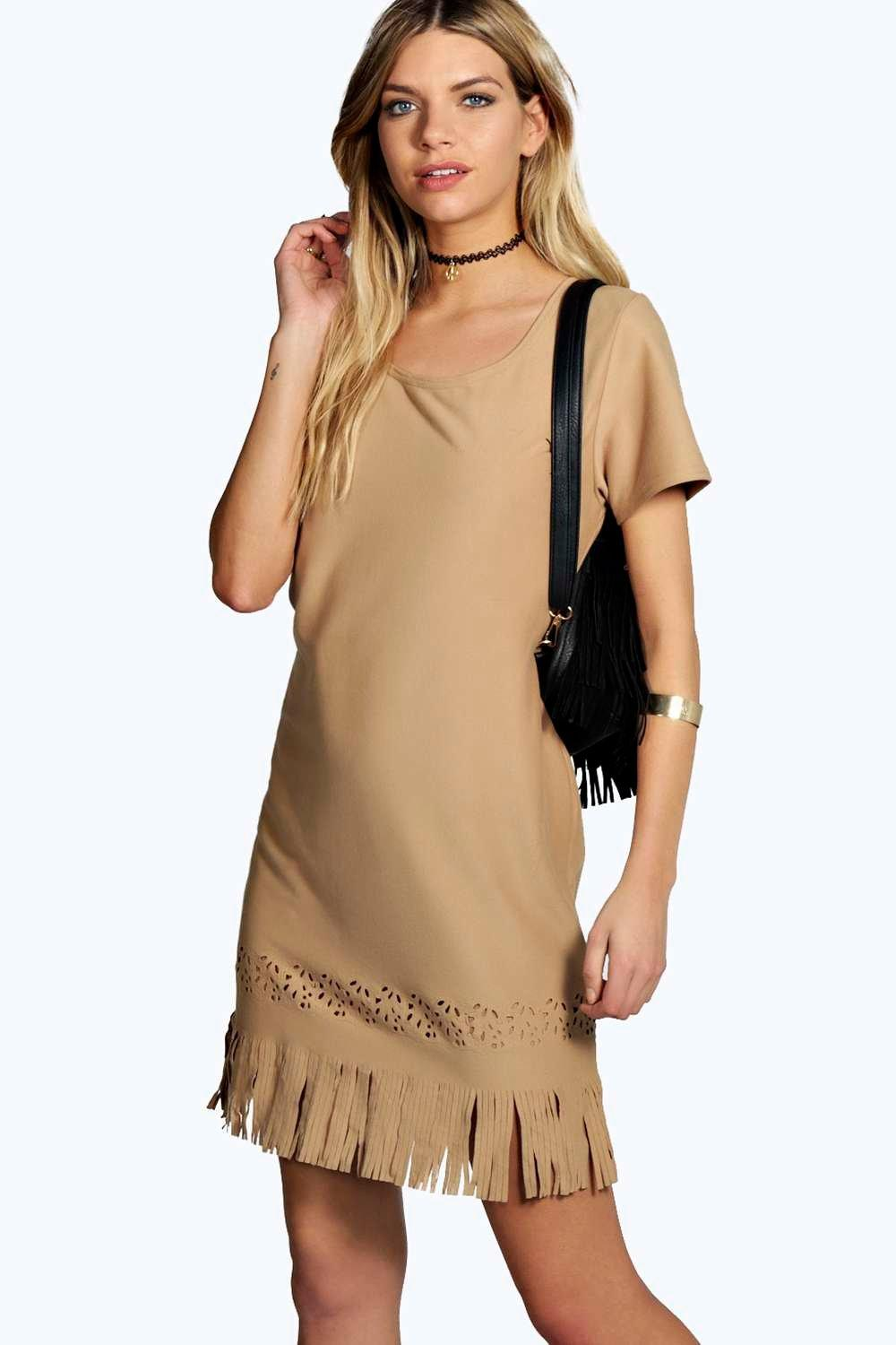 Kim Suedette Laser Cut Fringe Dress