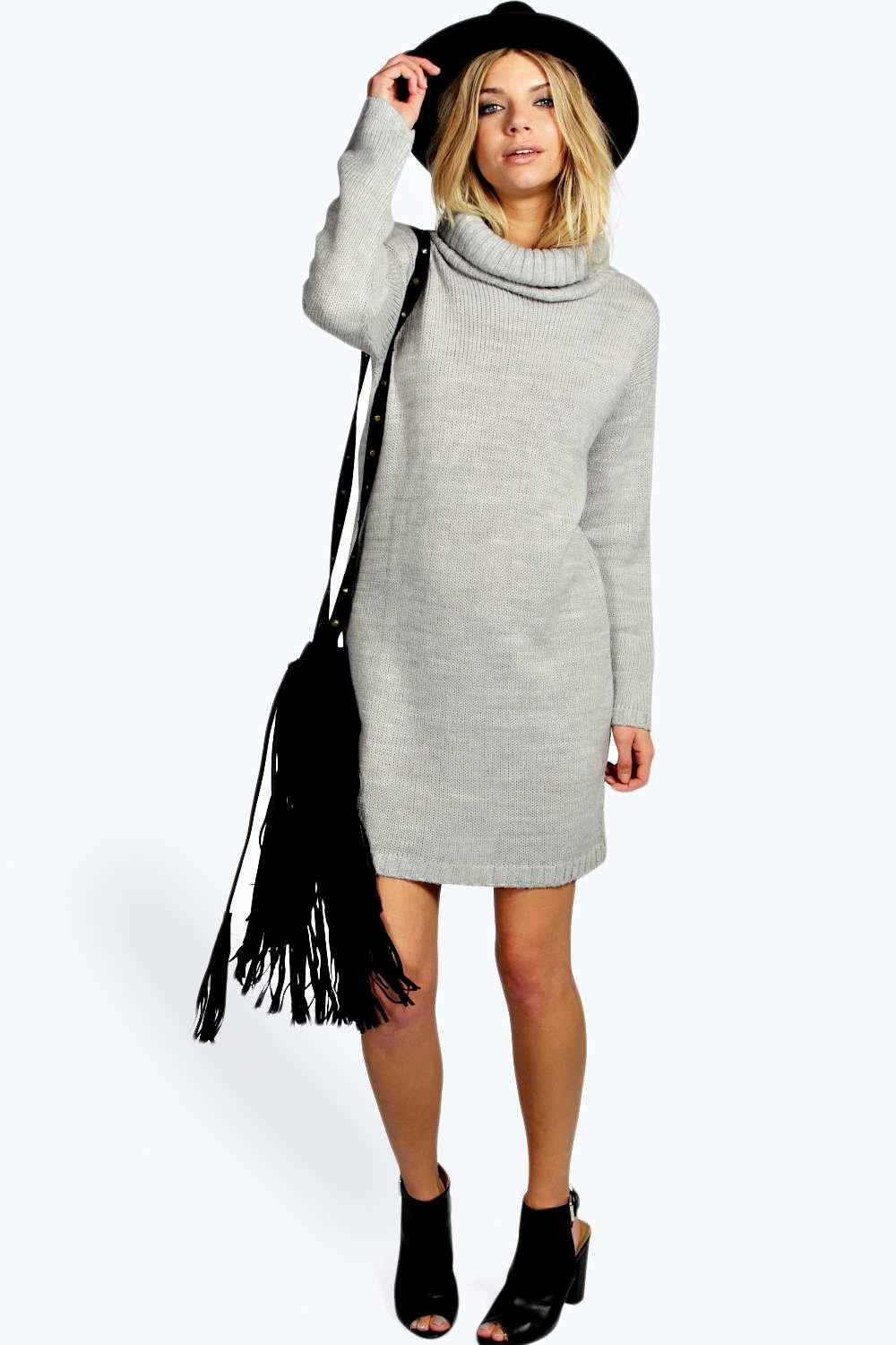 Zoe Cowl Neck Soft Knit Jumper Dress