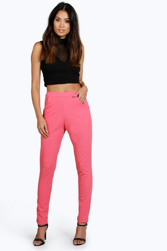 Neena Textured Crepe Tapered Trousers