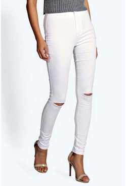 Lara High Rise Ripped Knee Tube Jeans