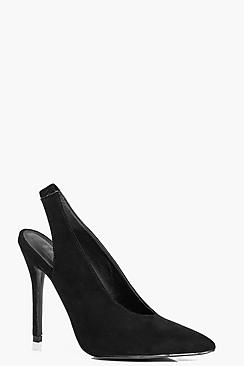 Daisy Deep V Slingback Pointed Suedette Heel