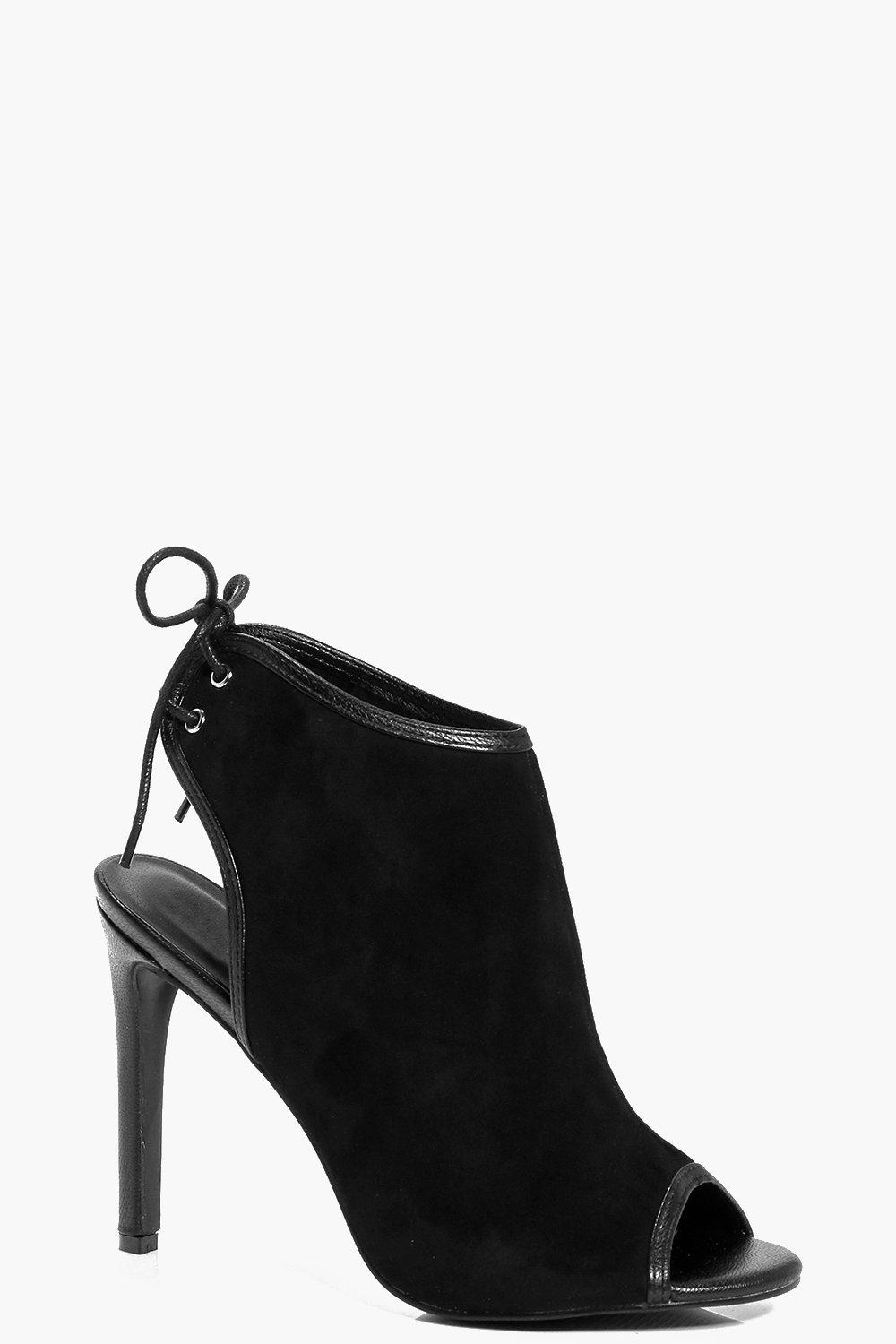 Freya Open Back Peep Toe Suedette Shoe Boot