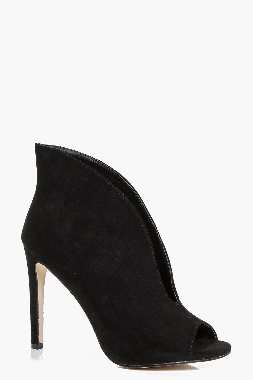 V Front Peep Toe Eyelet Suedette Shoe Boot - black