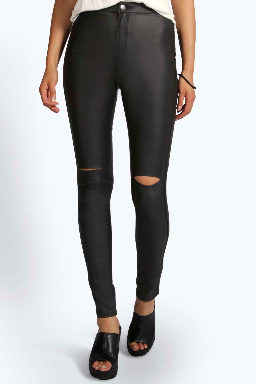 Lara High Rise Coated Knee Slit Tube Jeans