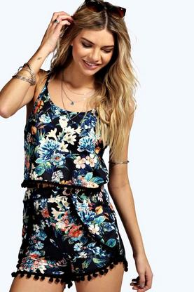 Saskia Floral Pom Pom Trim Short Co Ord Set
