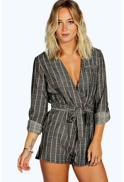 Holly Textured Check Draped Playsuit