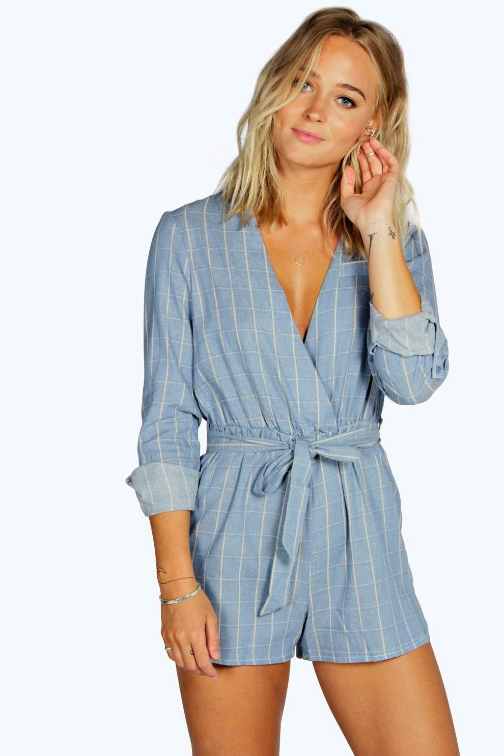 Visit New Sale Online Boohoo Textured Check Draped Playsuit Cheap Lowest Price Enjoy Sale Online Best Place To Buy Buy Cheap Footlocker Finishline YxoBA4E3jH