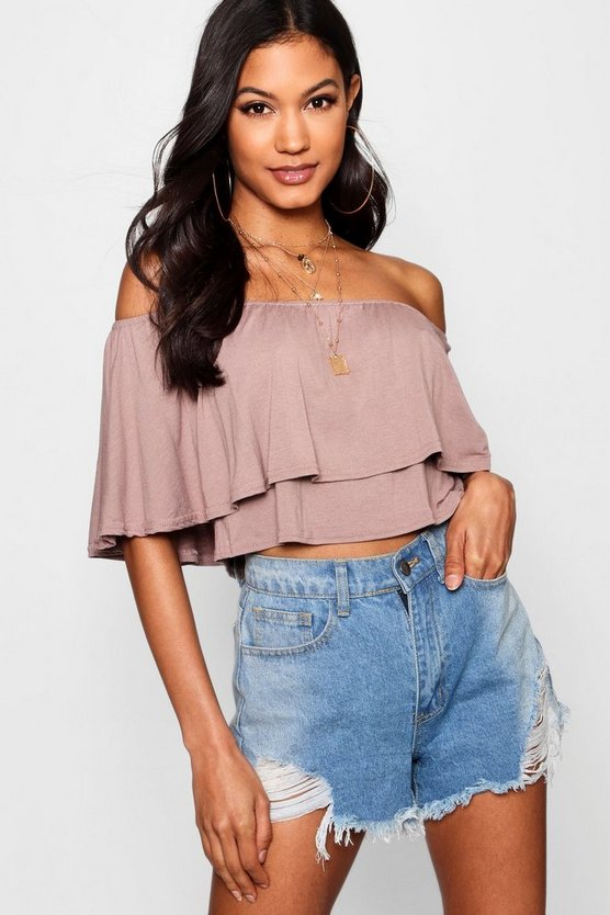 Off The Shoulder Frill Crop Top