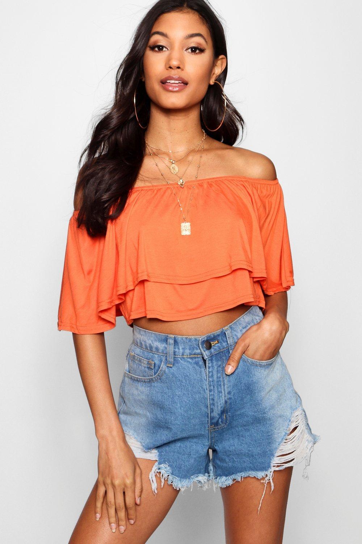 Womens Schulterfreies Kurztop mit Rüschen - Orange - 32, Orange - Boohoo.com