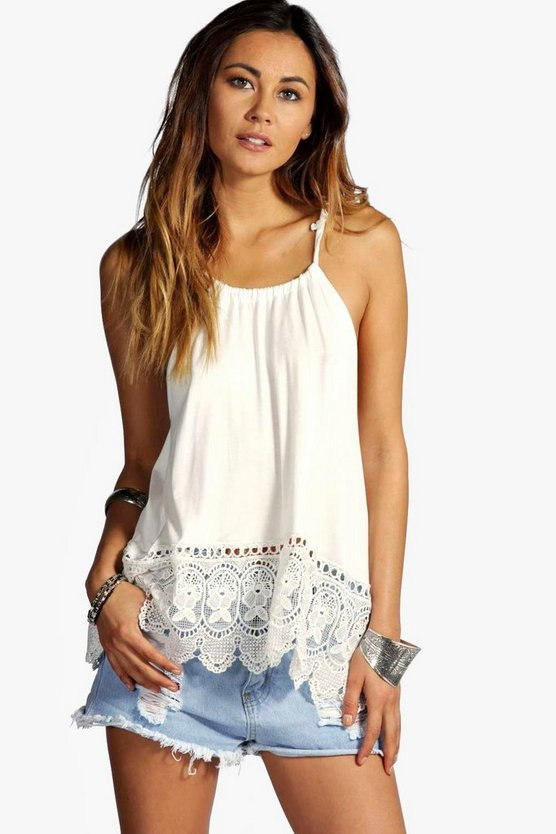 Katherine Halter Crochet Trim Top