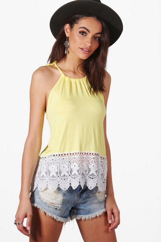 Halter Crochet Trim Top