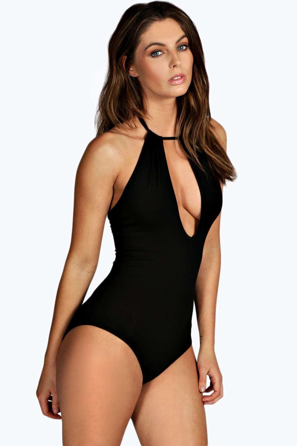 Francesca Cut Out Front Halter Bodysuit