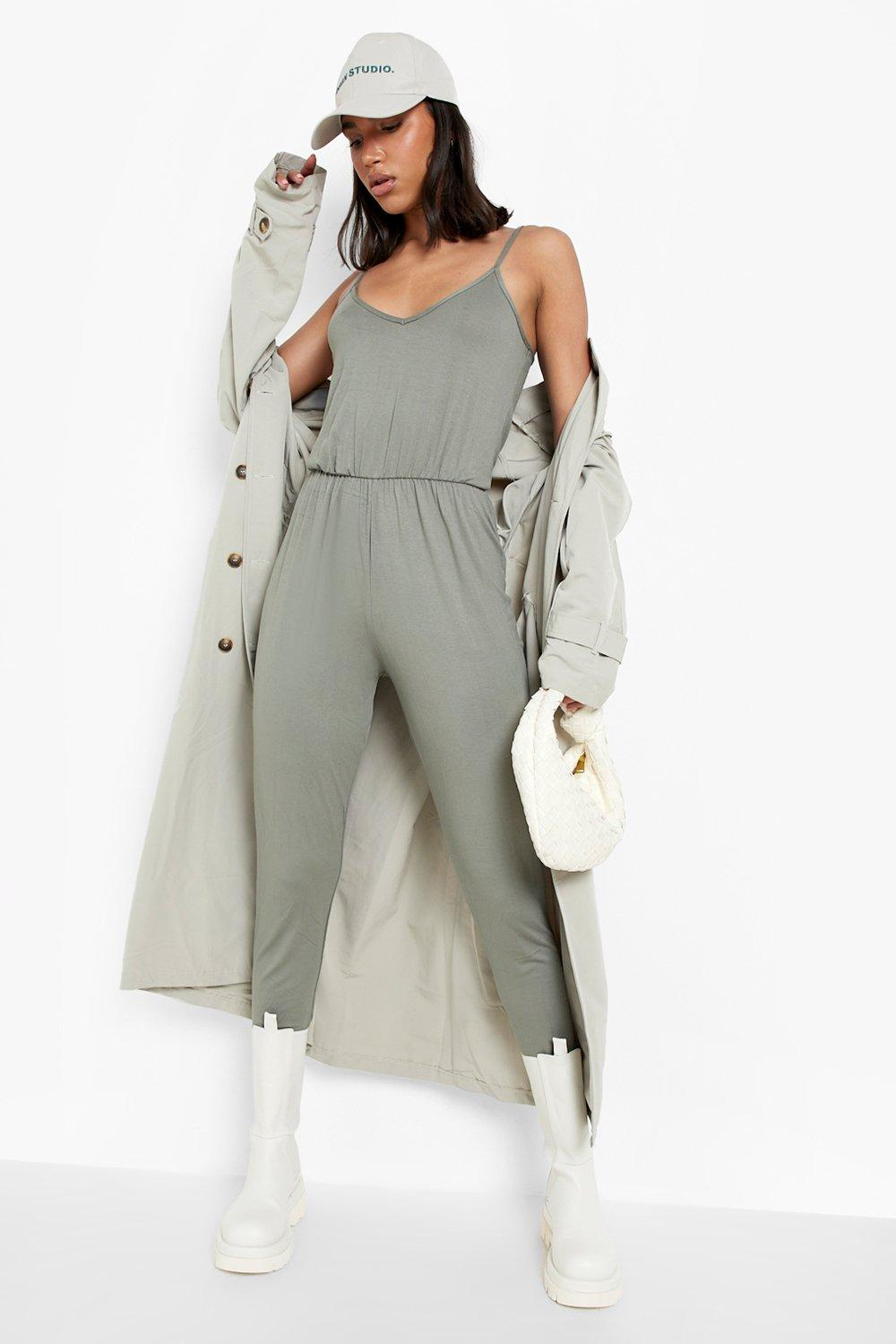 Basic Cami Jumpsuit  khaki