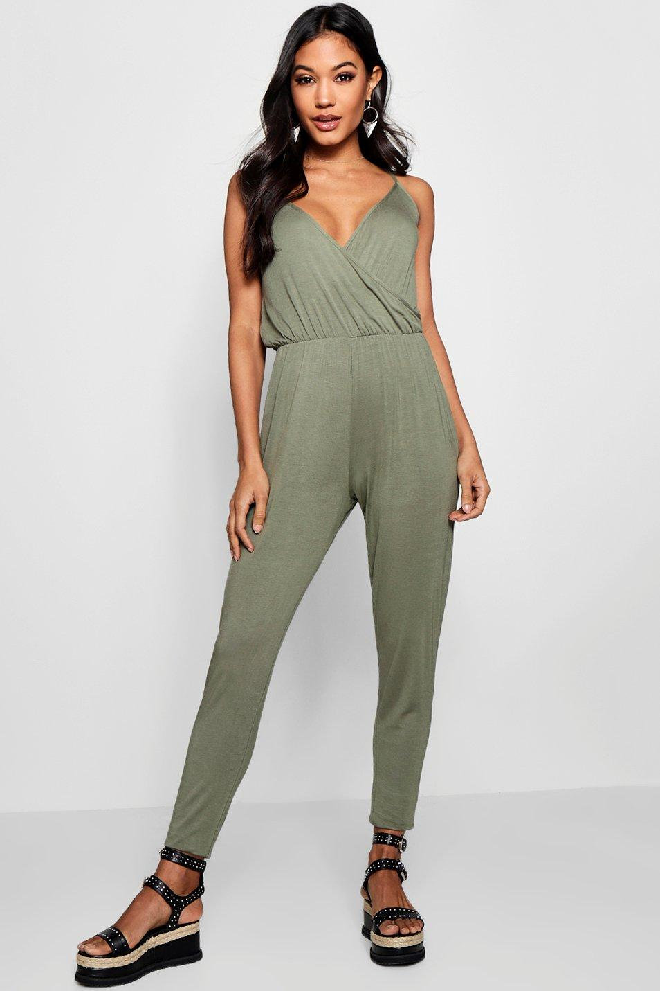 Basic Wrap Front Jumpsuit  khaki
