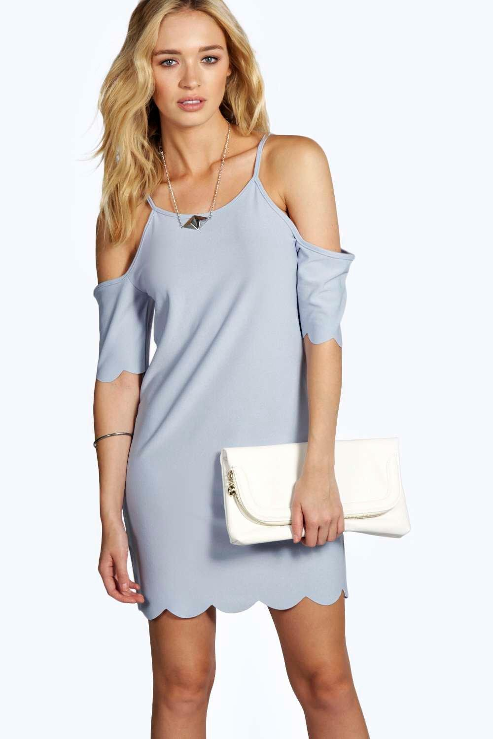Leanne Cold Shoulder Scallop Hem Shift Dress